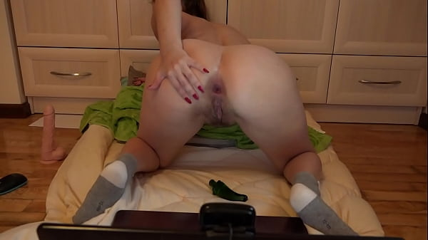 Anal-vaginal masturbation and double penetration for a double orgasm. Busty babe in front of a webcam fucks booty and hairy pussy. Homemade fetish.