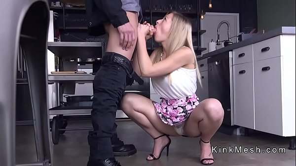 Blonde slave ass whipped and fucked