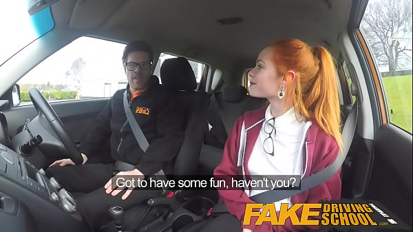 Fake Driving School Cute redhead Ella Hughes fucks and eats instructors cum Thumb