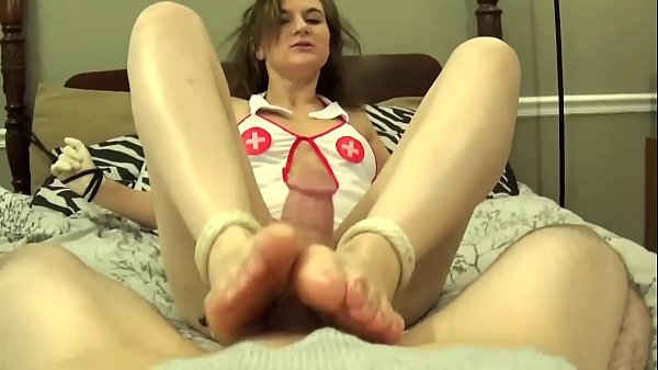 Nurse Tied Up and Forced To Give Footjob
