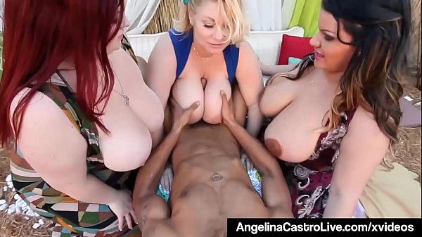 Plump BBWs Angelina Castro & 2 GFs Share A Big Black Cock!