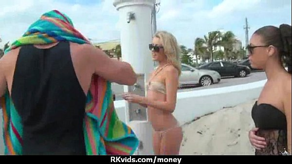 Sexy exhibitionist GFs are paid cash for some public fucking 1