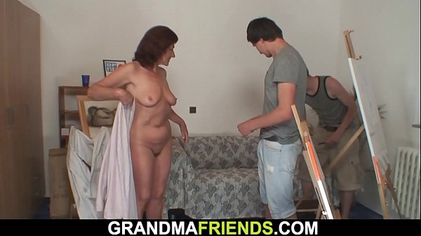 Two young boys fuck very old granny