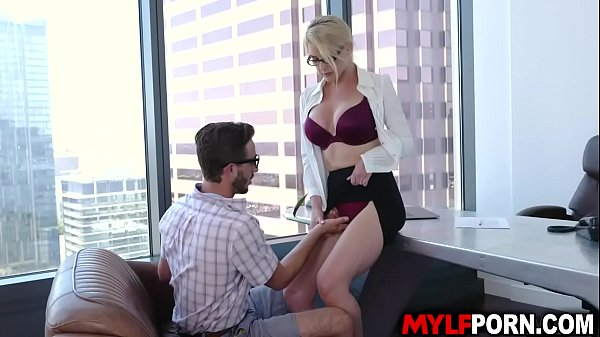 Hot and gorgeous principal Kit Mercer called this handsome student Lucas Frost and let him fucked her hungry MILF pussy inside her office.