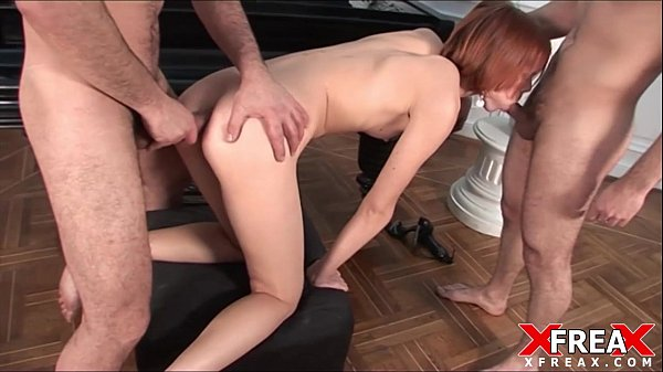 Cute Russian Redhead Fucked by 2 dirty Russians