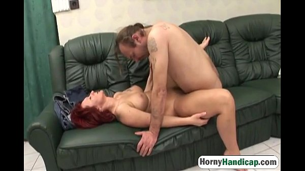 Handicapped man fucks mature redhead