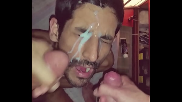 Gay big load cum on face by two big cocks