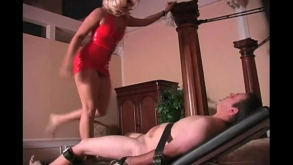 Sexy Blonde Dominates Testicles