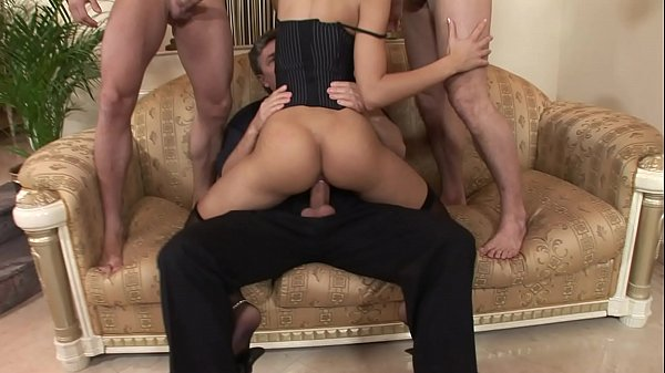 Orgy with the horny brunette of cocks and cum