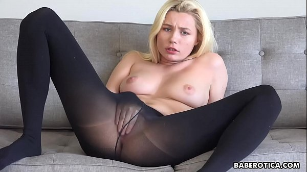 Solo blonde, Carolina Sweets is wearing nylons,...