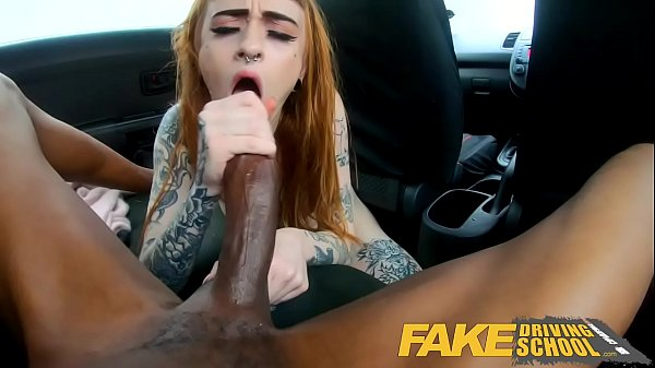Fake Driving School Redhead horny minx quirts on mechanics big black cock Thumb
