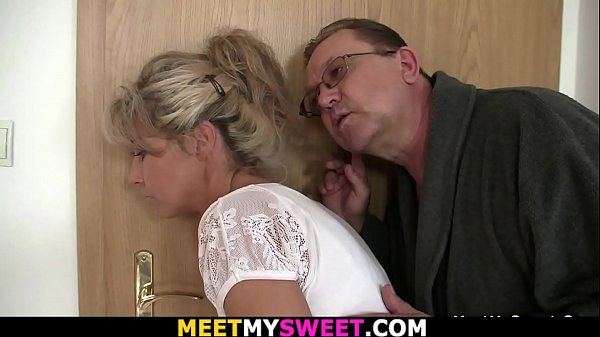 Guy finds his girl fucked by old mom and dad