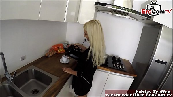 german young blonde slut fucks in kitchen at morning