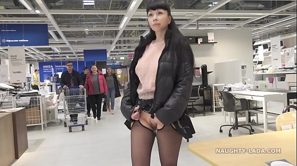 Short skirt and sheer blouse for flashing and public upskirt Thumb