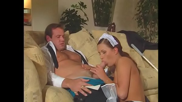 Sexy maid obey her boss's rules to take both cocks at the same time