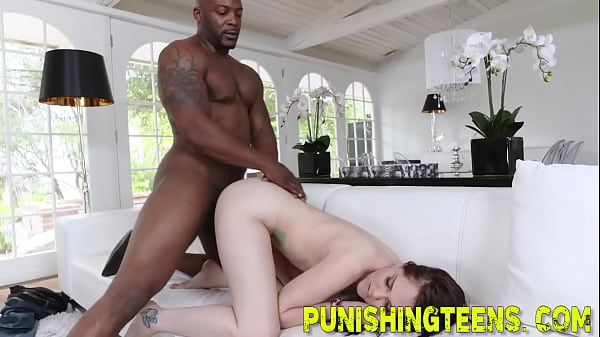 Teen gets rough fucked by big black cock and gives head