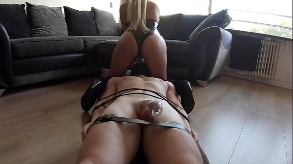 Bound Chastity Slave Gets Teased And Cums In Minutes Then Fed Creampie