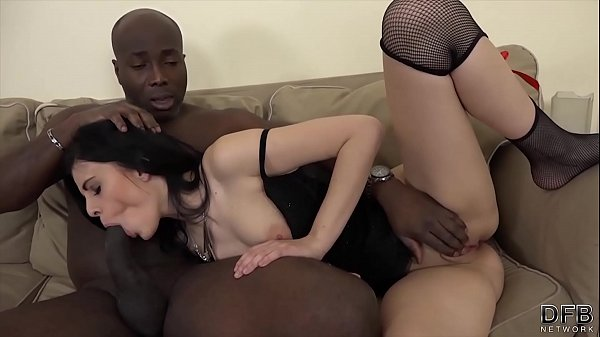 Teen creampied after rough interracial fuck