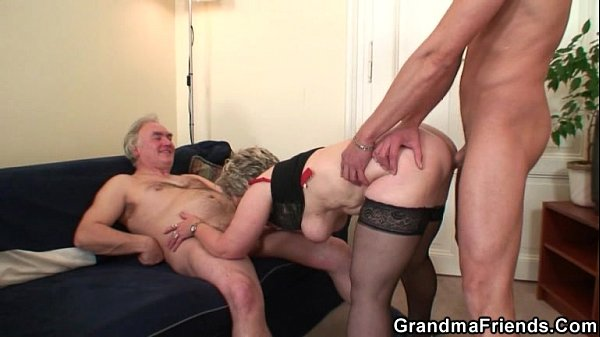 Cock-hungry granny enjoys two dicks