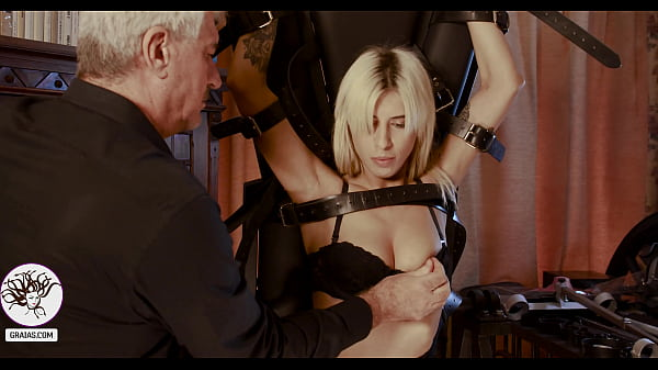 Blonde slut with breast clamps