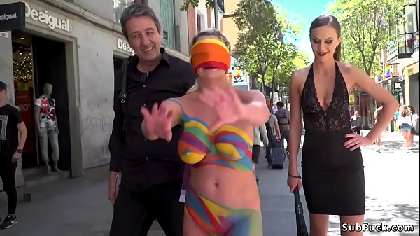 Body painted nakes slut in public