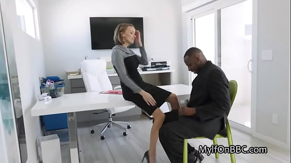 Job interview ends with bbc hammering for hot milf