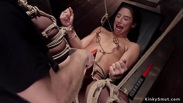 Teen in stockings anal fucked in dungeon