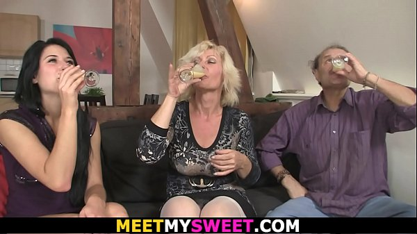 Old couple with teen threesome orgy