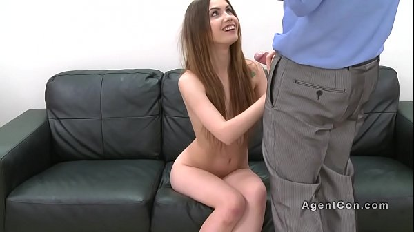 Small tittied brunette fucks fake agent