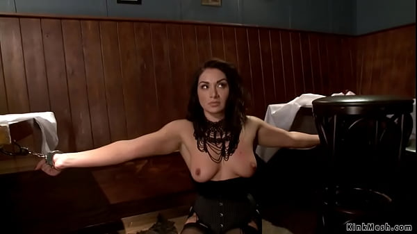 Brunette slave gagged and anal fucked