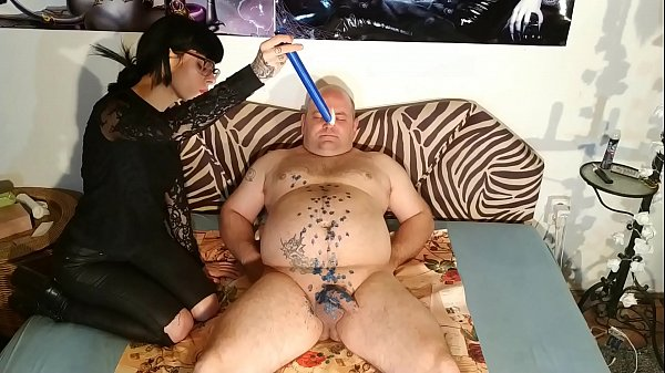 Beth Kinky - Slim goth domina wax t. her slave's cock & stomach pt1 HD