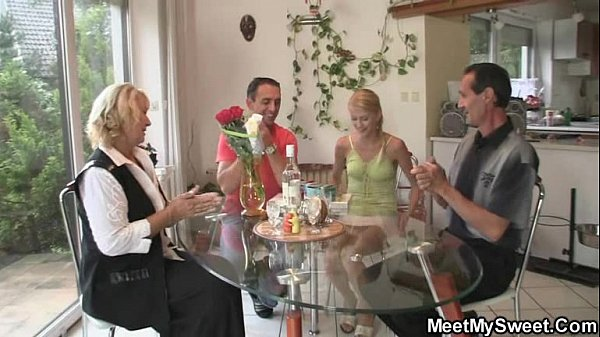 Her birthday ends up with family 3some