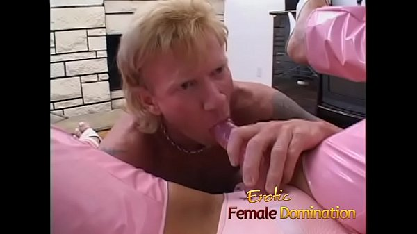 Bossy blonde bitch dominates a slave and sucks his cock