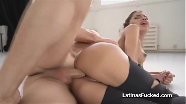 Spicy Spanish pussy oiled and filled with cock