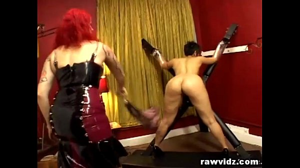 Lesbian BDSM Tied Whip Strap-On Fuck