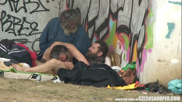 Pure Street Life Homeless Threesome on Public
