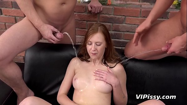 Piss Drinking - Threesome piss fuck for British redhead Thumb