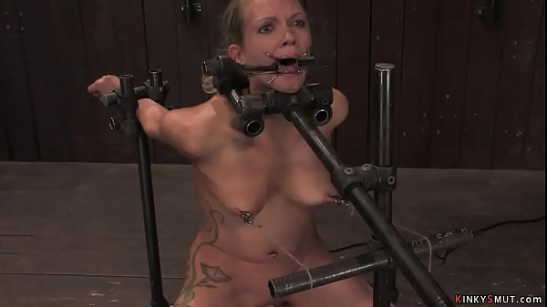 Bound in metal blonde trapped on Sybian Thumb