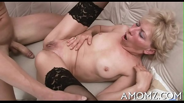 Throbbing knob rams older pussy