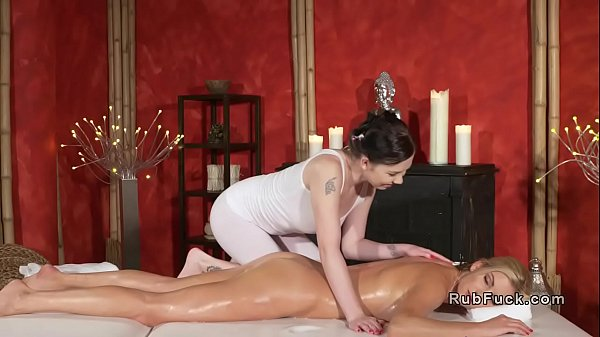 Tanned nude blonde stretched by masseuse Thumb