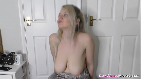 Hot blonde jumping and shaking her tits for the...