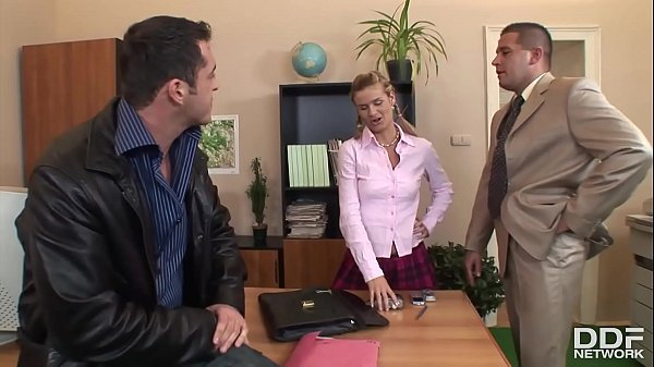 XXX office threesome with petite blonde Cloe gives her chills of pleasure Thumb