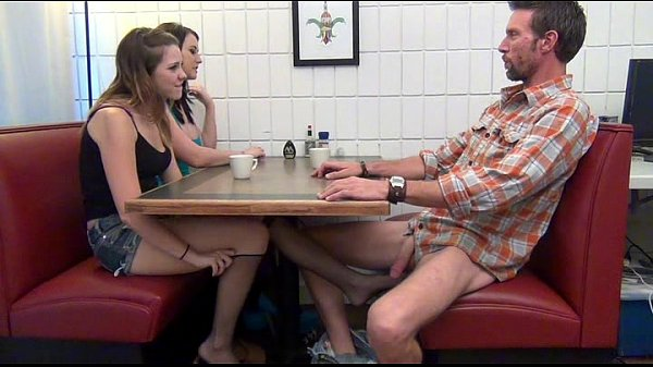 Daughter gives Footjob and BJ to Dad Under the Table Thumb