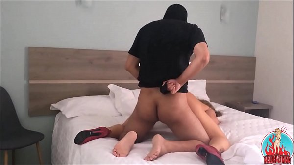 Young masked fucks my wife's ass hard while she asks for more - complete in red Thumb
