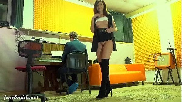 Naughty Teacher with no panties prank with a re...