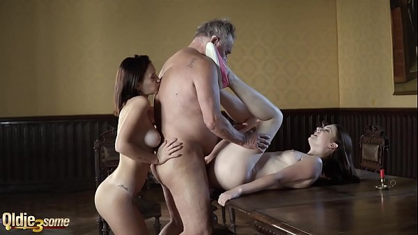 Grandpa fucks two y. in their sexy holes and watch them licking cum Thumb
