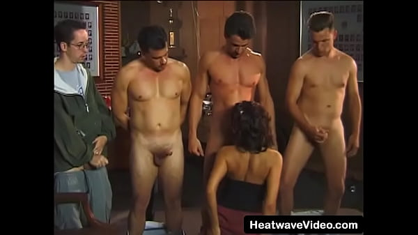 18-year-old brunette gets fucked by a group of ...