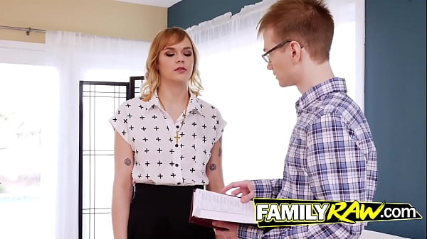 Blonde Slut rejects the bible to fuck with nerd Thumb