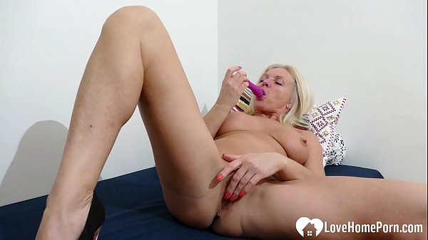 Sexy blonde girl is masturbating just for you