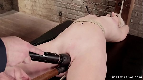 Shaved pussy blonde takes crotch rope Thumb